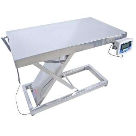 Mesa de atendimento ergométrica em aço inox com balança