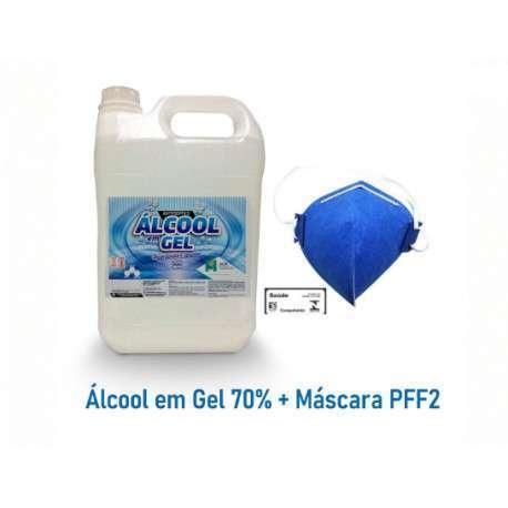 Antisséptico Álcool Em Gel 70% + Máscara Respiratória PFF2